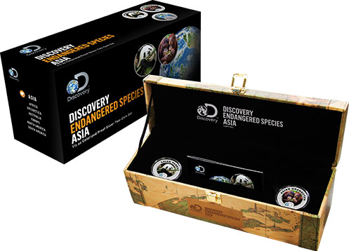 2017 Discovery Channel Endangered Species Asia 2 Coin Proof Silver Set - Niue $2 (3 Oz Pure Silver)