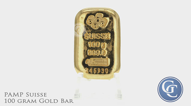 100 gram (3.215 oz) Gold Bar PAMP Suisse 999.9 with Assay Certificate