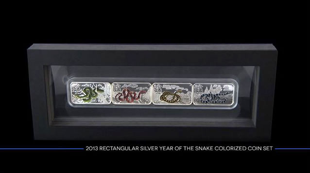 2013 1 Oz Rectangular Lunar Year of the Snake 4 Coin Set
