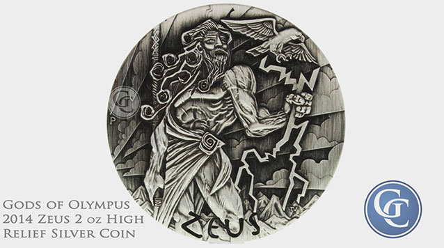 2014 Zeus Gods Of Olympus 2 oz High Relief Silver Coin Australia Perth Mint