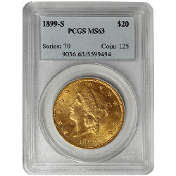 Common Date $20 Double Eagle Liberty Gold