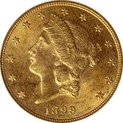 Common Date $20 RAW Double Eagle Liberty Gold