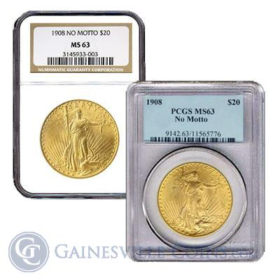 $20 Saint Gaudens Gold Double Eagle MS63 - NGC/PCGS (Random Date)
