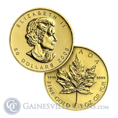 "1 Oz Canadian Maple Leaf $50 Gold Coins Dates of our Choice .999 or .9999 (""Scruffy"")"