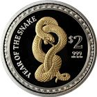 2013 1 oz Proof Silver Snake Gold Gilded With Box and COA