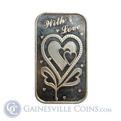 With Love 1 oz Silver Art Bar .999 Pure
