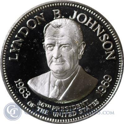 Lyndon B Johnson Proof Sterling Silver Round - US Presidents Series (.98 oz of Silver)