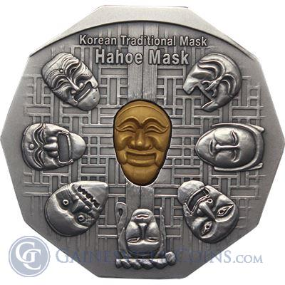Korean Gold & Silver Hahoe Mask - Korean Mint (100 Grams Silver & 3 Grams Gold) - Mintage of Only 400 Medals