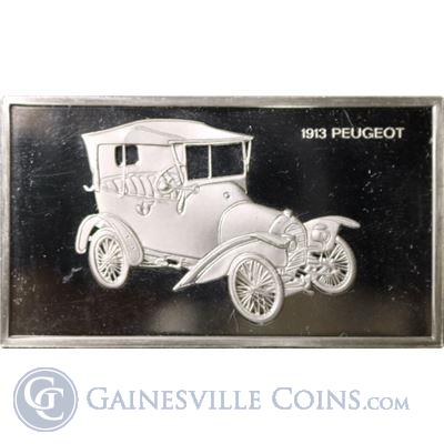 1913 Peugeot 1000 Grains Classic Cars Sterling Proof Silver (1.90 oz ASW)
