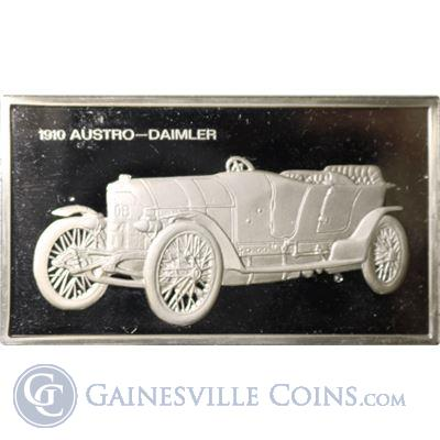 1910 Austro-Daimler 1000 Grains Classic Cars Sterling Proof Silver (1.90 oz ASW)