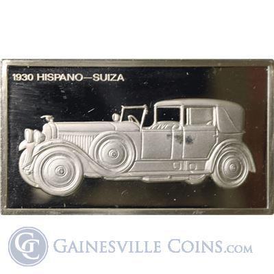 1930 Hispano-Suiza 1000 Grains Classic Cars Sterling Proof Silver (1.90 oz ASW)