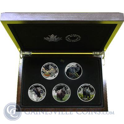 2016-2017 Canada Majestic Animals 5-Coin Silver Proof Set - Colorized (With Box and COA)