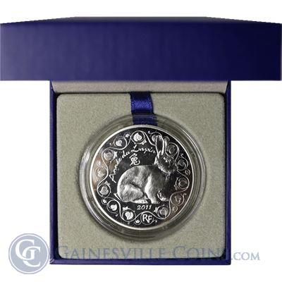 2011 France Lunar Year Of The Rabbit Silver Coin - With Box and COA