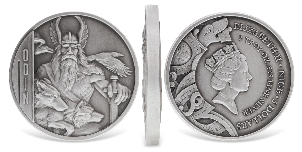 Double Sided Ultra High Relief Odin Silver Coins