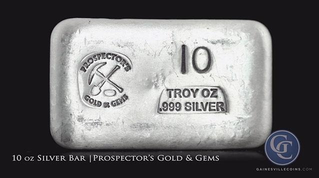 Silver Bar 10 oz Prospectors Gold and Gems