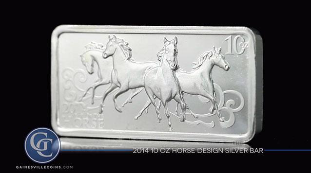 2014 10 oz Horse Design Silver Bar