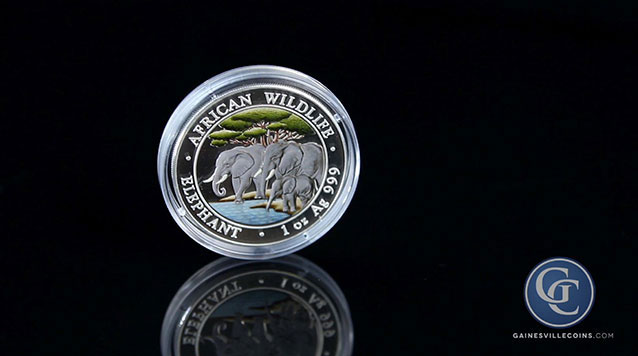 2013 1 oz Somalian African Elephant Colorized Silver Coin