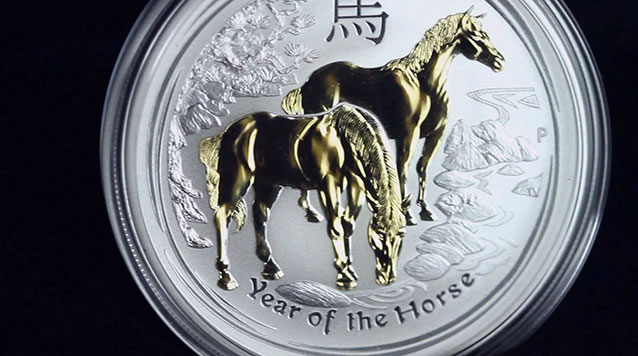 2014 1 oz Proof Horse Gold Gilded Silver Coin