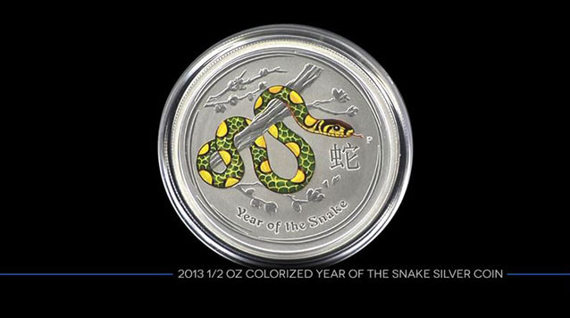 2013 1/2 Oz Colorized Year of the Snake Silver Coin