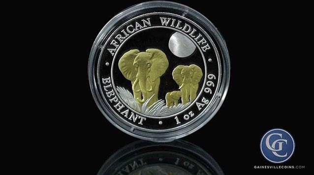 2014 Somalia Silver Elephant Gold Gilded