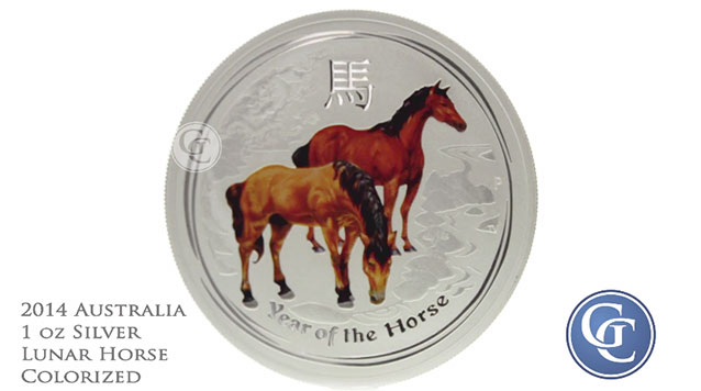2014 Australia 1 oz Silver Horse Colorized