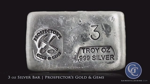 3 oz Silver Bar Prospector's Gold And Gems