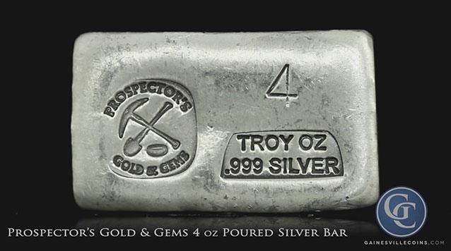 Prospector's Gold & Gems 4 oz Poured Silver Bar