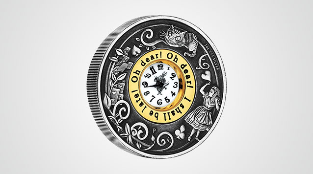 Alice In Wonderland Clock Coin 2 oz Silver with Antique Finish Product Video