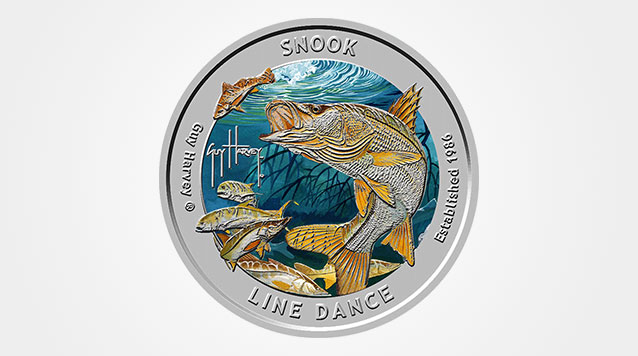 2015 Guy Harvey© Colorized Snook Line Dance 1 oz Proof Silver Round Product Video