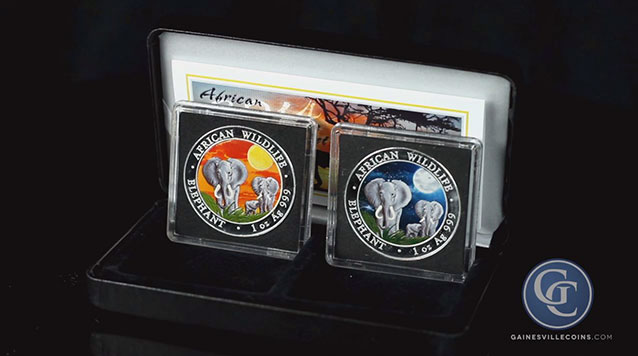 2014 1 oz Silver Somali Elephant Night And Day Coin Set