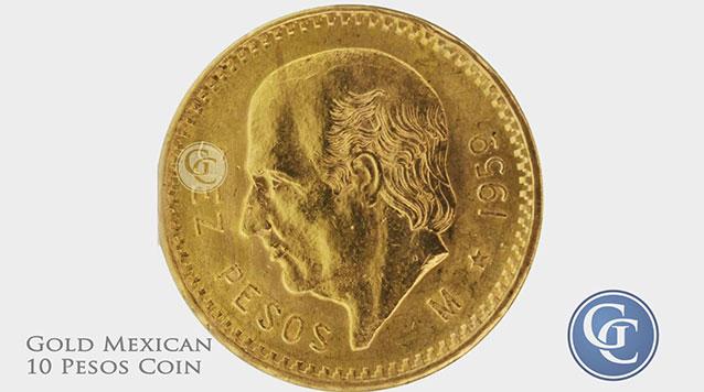 Gold Mexican 10 Pesos