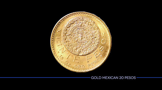 Gold Mexican 20 Pesos