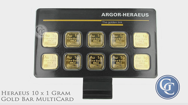 Heraeus MultiCard 10 x 1 Gram Gold Bar (.322 oz AGW)