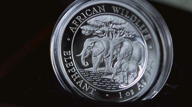 2013 1 oz High Relief Silver Somalian African Elephant