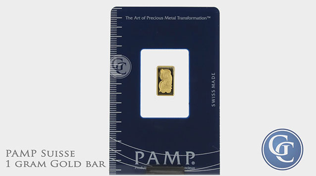 PAMP Suisse 1 gram Gold Bar with Assay Certificate 999.9 Fine