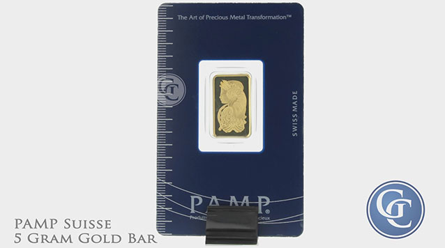 PAMP Suisse 5 Gram Gold Bar with Assay Certificate .9999 Pure