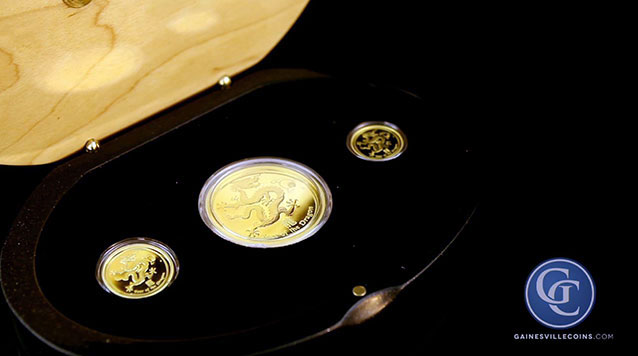 2012 3-Coin Proof Gold Lunar Year of the Dragon Set
