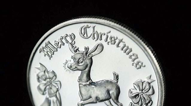 2013 Merry Christmas Reindeer 1 oz Silver Round