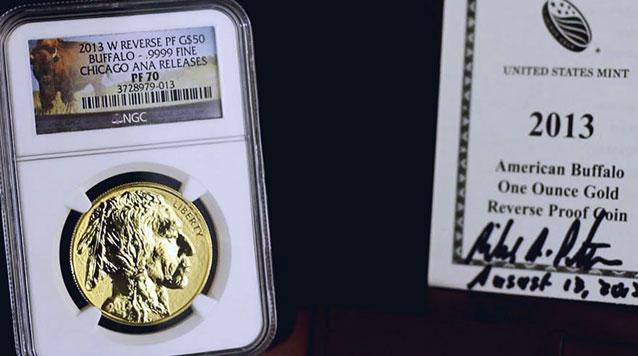 2013 $50 Reverse Proof Gold Buffalo Chicago