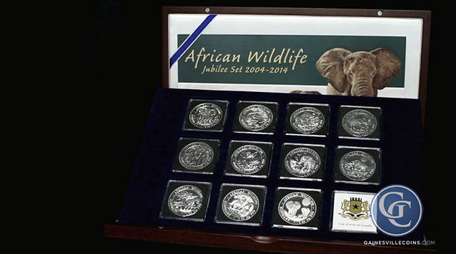 2004-2014 Somalia African Wildlife 11-Coin Silver Jubilee Set