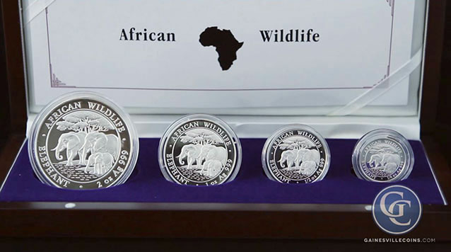 2013 Somalian Proof Silver African Elephant 4 Coin Set