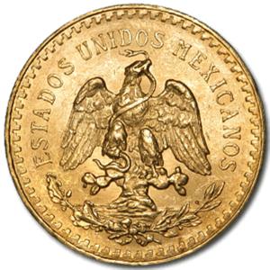 Mexican Gold Pesos Coin Reverse Obverse