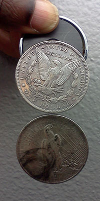 magnet test on silver dollars