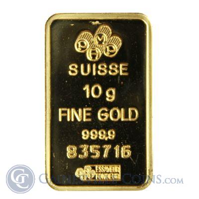 10 gram PAMP Suisse Gold Bar - .9999 Pure (w/out Assay)