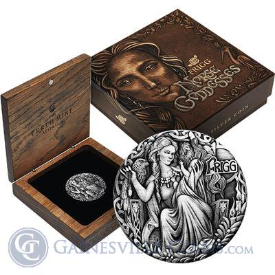 2017 Frigg Norse Goddess High Relief 2 oz Proof Silver Coin - Tuvalu $2
