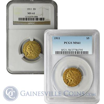 $5 Indian Gold Half Eagle MS61 (NGC/PCGS) - Random Date