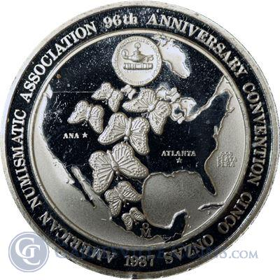 1987 American Numismatic Association 5 oz Silver - Mexico Butterfly