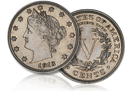 V nickel five-cent coin