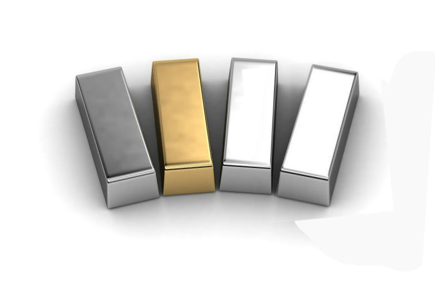 bullion bars of various precious metals