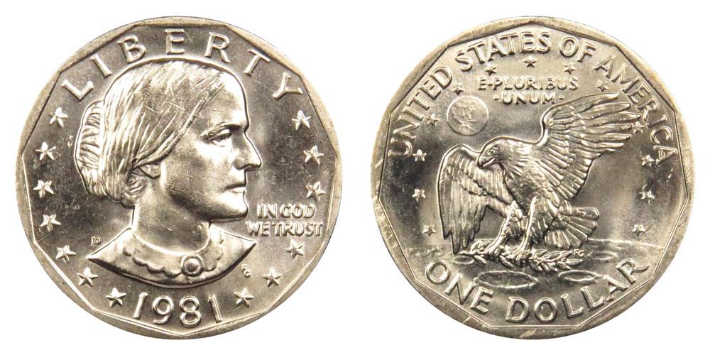 1981 P Susan B Anthony Dollar Choice//Gem Bu from mint sets